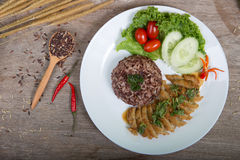 Fried meat serve with white rice Royalty Free Stock Images