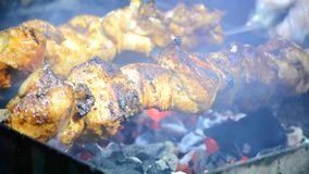 Fried meat shish kebab. Close-up stock footage