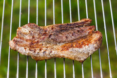 Fried meat slice on barbecue grid Royalty Free Stock Photos