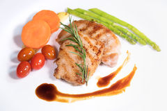 Fried meat stake with vegetables Stock Photo