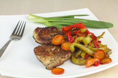Fried meat with vegetables. Stock Image