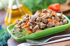 Fried meat with vegetables Royalty Free Stock Image