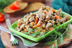 Fried meat with vegetables Stock Image