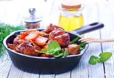 Fried meat with vegetables Stock Photography