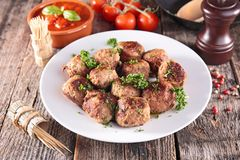 Fried meatball. And tomato sauce Royalty Free Stock Images