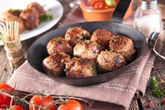 Fried meatball. And tomato sauce Stock Image