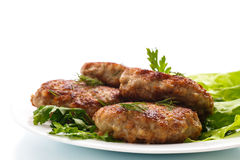 Fried meatballs with herbs Stock Photo