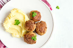 Fried meatballs with mash Royalty Free Stock Images