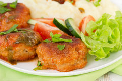 Fried meatballs with mashed potato, sauce Stock Photo