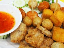 Fried meatballs. Served with sweet chili sauce Royalty Free Stock Image