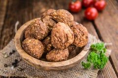 Fried Meatballs (skjuten närbild) Arkivfoton