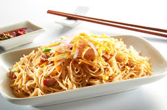 Fried Mee Hoon Noodle. Singapore stlye on clean background Stock Photography