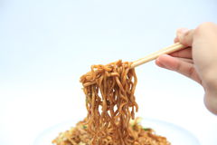Fried mee hoon noodle on white background. It is fried noodle captured on white background Stock Images