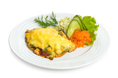 Fried mexican chicken. With cheese, maize and vegetable side dish. Isolated on white. Isolated by clipping path Royalty Free Stock Photo