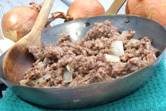 Fried mince in a brass pan Stock Image