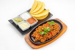 Fried minced beef on hot plate Royalty Free Stock Photography