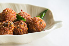 Fried minced pork with spicy sauce on bowl Stock Photography