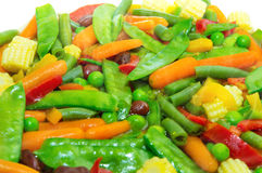 Fried mix vegetable. Vegetarian mixture close-up with shallow depth of field Royalty Free Stock Photos