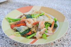 Fried mixed vegetable and seafood. Delicious soft tasty of thaifood Royalty Free Stock Photo