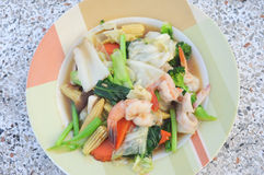 Fried mixed vegetable and seafood. Delicious soft tasty of thaifood Stock Photo