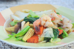 Fried mixed vegetable and seafood. Delicious soft tasty of thaifood Royalty Free Stock Photos
