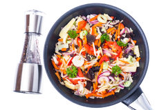 Fried mixed vegetables with mushroom mun, bamboo shoots and soyb Stock Image