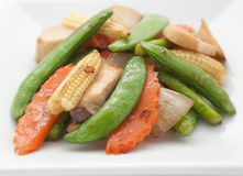 Fried mixed vegetables and pork Royalty Free Stock Photos