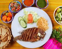 Fried mojarra tilapia fish Mexico style. With chili sauce and nachos royalty free stock image