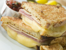 Fried Monte Cristo Sandwich with Salsa and Chips Stock Photo