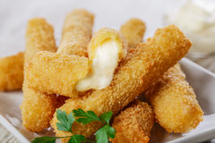 Fried mozzarella cheese sticks Royalty Free Stock Image