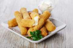 Fried mozzarella cheese sticks Royalty Free Stock Images