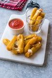 Fried Mozzarella Cheese Sticks empanado con la salsa de inmersión de la salsa de tomate fotografía de archivo libre de regalías
