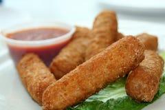 Fried Mozzarella With Sauce Stock Photo