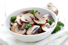 Fried mushrooms Stock Images