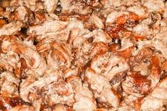 Fried Mushrooms. Background of cooked Macrolepiota Procera mushrooms. Autumnal mushroom Stock Images