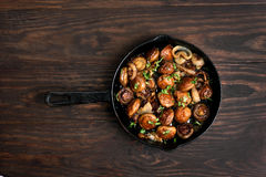 Fried mushrooms in cast iron pan Royalty Free Stock Photography