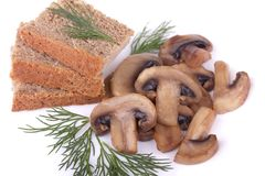 Fried mushrooms (champignons) and rye bread with d Royalty Free Stock Photo