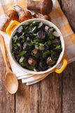 Fried mushrooms with herbs and spices in a pan close-up. vertica Royalty Free Stock Image