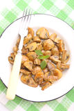 Fried mushrooms. In a honey-mustard marinade stock photo