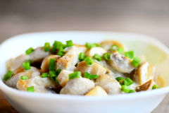 Fried mushrooms slices with sour cream sauce and fresh green onions in a bowl. Delicious vegetarian food. Easy home mushrooms Royalty Free Stock Photos