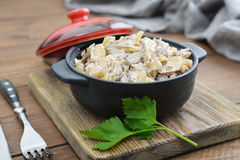 Fried mushrooms with sour cream Stock Image