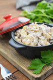 Fried mushrooms with sour cream Stock Photography