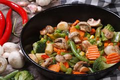 Fried mushrooms with vegetables in a pan closeup Royalty Free Stock Image