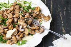 Fried mushrooms with vegetables on a plate stock image