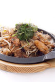 Fried mussel with bean sprout, Thai traditional food Royalty Free Stock Photography