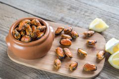 Fried mussels Royalty Free Stock Photography