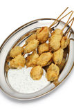 Fried mussels, midye tava, turkish food Stock Images