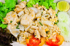 Fried noodle. With chicken and vegetable Royalty Free Stock Image