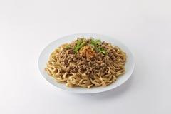 Fried Noodle com a carne de porco triturada fritada Foto de Stock Royalty Free