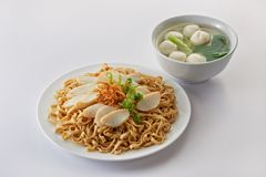 Fried noodle with fish cake and fishball soup Royalty Free Stock Photos